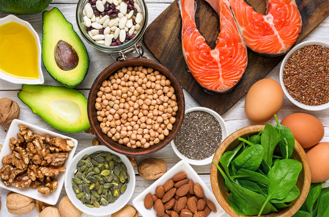 Food rich in omega 3 fatty acid and healthy fats.
