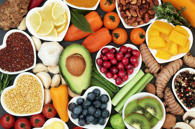 Fruit, vegetables, pulses, herbs, spices, nuts and grains.