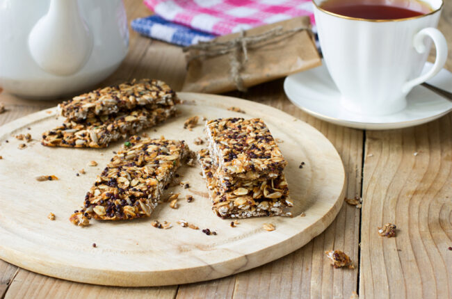 Chocolate-Peanut Butter Quinoa Bars on a serving board