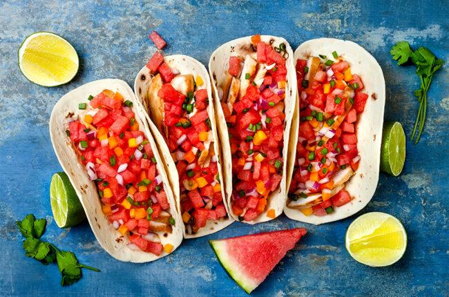4 chicken tacos with watermlon salsa