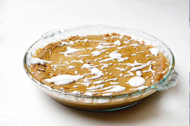 Circular baking dish with Low Sugar Crustless Pumpkin