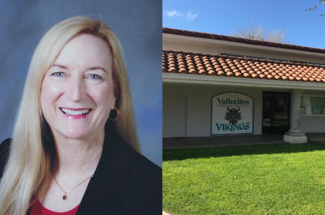 Headshot of Linda Miller next to image of Vallecitos School District building