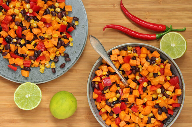 Bowl and plate of Black Bean, Sweet Potato and Corn Salad