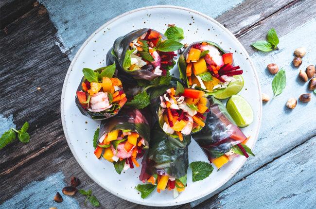 7 Shrimp and Melon Summer Rolls on plate