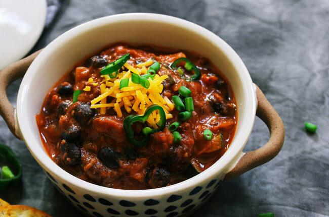 Ceramic bowl with Black Bean Chili